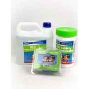 Комплект за безхлорна БИО дезинфекция на вода в плувни басейни - Азуро BioL, Azuro Oxi Tabs, тестер за pH и O2