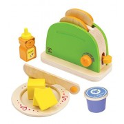Hape - Playfully Delicious - Pop Up Toaster Wooden Play Kitchen Set with BONUS Blueberry Jam