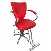 Scaun pentru Salon de Frizerie cu Picioare Inalt - Rosu