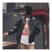 Casual Autumn New Style Women Fashionable PU Leather Baseball Jacket Outwear Black