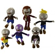 Husoar 28cm Plush Plants Vs Zombies Toys Doll A Set Of 6 Ducky Tube Zombies,Conehead Zombies,Newspaper Zombies,Grey Zombie,Purple Zombie,Dancing Zombie