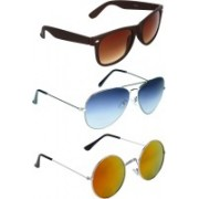 Zyaden Wayfarer, Aviator, Round Sunglasses(Brown, Blue, Multicolor)
