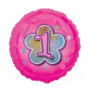 Balon folie roz cu cifra 1 - 43 cm