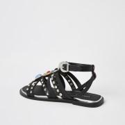river island Womens Black embellished gladiator sandals (2)