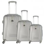 JUSTGLAM Set 3 valigie in abs leggero c/4 ruote argento