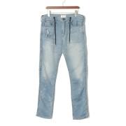 【68%OFF】D.E BLACKIE ダメージウォッシュ ドローコード イージーデニム ブルー 31 ファッション > メンズウエア~~パンツ