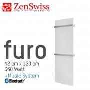 ZenSwiss furo Music Handtuchtrockner 42 x 120 cm (Matt Weiss)