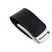 Eshop Stylist Leather Metal Chrome Casing USB Flash Drive 8 GB Pen Drive(Black)