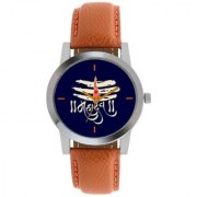 idivas 110 BROWN STRAP BLUE DIAL MAHADEV WATCH FOR BOYS AND MEN