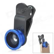 Las lentes Macro Clip-On de ojo de pez 0.67X + Ajuste para el telefono celular - Negro + azul