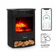 Klarstein Bormio S Smart, elektromos kandalló, 950/1900 W, termosztát, heti időzítő, fekete (FP9-BormioS SmartB)