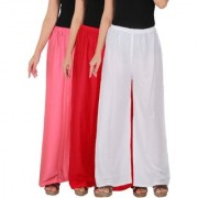 Culture the Dignity Women's Rayon Solid Palazzo Pants Palazzo Trousers Combo of 3 - Baby Pink - Red - White - C_RPZ_P2RW - Pack of 3 - Free Size