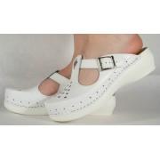 Saboti/Papuci albi din piele naturala dama/dame/femei (cod 13-7509)