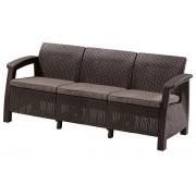 Corfu 3 személyes kanapé műrattan kerti bútor barna ALLIBERT