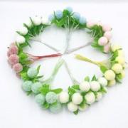 Konstgjorda Pom Pom Blommor Bukett med 10st Olika Färger