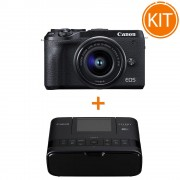 Bundle Canon EOS M6 MK II cu Obiectiv EF-M 15-45mm f/3.5-6.3 IS si EVF-DC2 + imprimanta foto Canon Selphy CP-1300