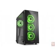 "Sharkoon TG5, no PSU, 1x3.5"", 2x2.5"", USB3.0, ATX Midi Tower, Tempered glass side panel, Green"