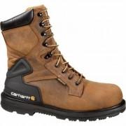 Carhartt Men's 8 Inch Waterproof Steel Toe Work Boots - Bison Brown, Size 8 1/2 Wide, Model CMW8200