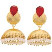Maayra Women Earrings Wedding Festival Copper Jhumki Maroon White Pearl Jewellery