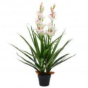 vidaXL Planta orquídea cymbidium artificial com vaso 100 cm verde
