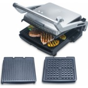 Gratar electric and toaster Solis Grill and More 3 in 1 cu atasament pentru facut vafe placi detasabile si antiaderente 1800W termostat