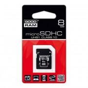 Memóriakártya, Micro SDHC, 8GB, Class 10, adapterrel, GOODRAM