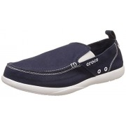 Crocs Men's Walu Navy and White Canvas Loafers and Mocassins - M9