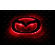 Эмблема со светодиодной подсветкой Mazda красного и белого цвета «126 x116»