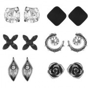 GoldNera Set of 6 Silver Antique Designer Stud Earrings For Daily/College Wear Girls (STYLE 3)