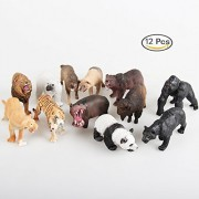 12 pc Simulation Jumbo Jungle Animals, Zoo Animal Friends, Great Educational Toy for Toddlers