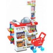 Set pentru copii supermarket cu casa de marcat scanner rafturi carucior si alte accesorii