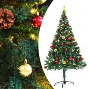 vidaXL Изкуствена елха, украсена с играчки и LED лампи, 150 см, зелена