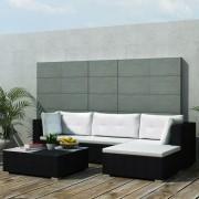 Set mobilier de grădină 14 piese, poliratan, negru