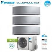 Daikin Climatizzatore Condizionatore Daikin Trial Split Inverter Serie Emura Silver Wi-Fi R-32 Bluevolution 9+9+12 Con 3mxm68m