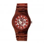 Earth Wood Gobi Automatic Skeleton Bracelet Watch - Red ETHEW4303