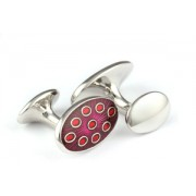 Mousie Bean Enamelled Cufflinks Oval Dots 135 Mauve & Red