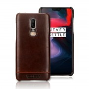 PIERRE CARDIN for OnePlus 6 Horizontal Stitched Genuine Leather Coated PC Phone Case - Coffee