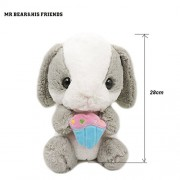 Mr. Bear & His Friends 28CM Stuffed Animals Rabbit Dolls Big Eyes Long Ear Loppy Rabbits Soft Plush Toys for Children Girls Kids Huggable Doll Gifts - Grey