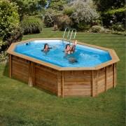 Дървен овален басейн Gre SAFRAN 637 x 412 x 133 cм