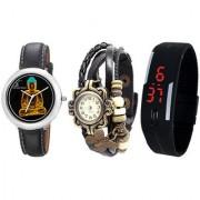 Combo of Jack Klein Stylish Graphic 1208 Black Vintage And Black LED Watches