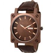 Manada Men's Ultra Thin Brown Leather Strap Analog Quartz Wrist Watch Unique Design Square Shape Waterproof Calendar Window