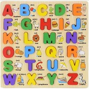 WS - Home Baby Infant Child Type Toy Toy Alphabet Capital Letters Puzzle Wooden 26 Pieces Educational Toys English Education Colorful