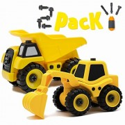 Take Apart Toy Engineering Trucks Set of 2 Cars: Excavator and Dump Truck, Contains 50 Pieces. BEST Toys and Gifts for Boys and Girls Kids Aged 3-8.