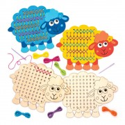 Baker Ross Fluffy Sheep Wooden Threading Kits - 4 Blank Sheep Shapes To Decorate And Cross Stitching. 23cm x 16.5cm.