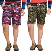 American Noti Black Stretchable Cotton Lycra Slim Fit Men's Checked Shorts(Bermuda)/3/4 th