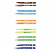 Giotto Fabric Pens - 12 Giotto Fabric Pens in assorted colours including red, green, blue, orange, pink, black etc. Washable up to 40°C. Heat fix by ironing.