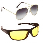Magjons Fashion Combo Of Grey Aviator And Night Driving Sunglasses