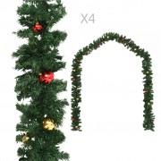 vidaXL Коледни гирлянди с топки, 4 бр, зелени, 270 см, PVC
