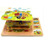 Little Spells Three layer wooden puzzles,early education multilayer three dimensional puzzle farm
