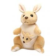 Pratham Enterprises Begie Kangaroo Mother with Baby Stuffed Soft Plush Toy Kids Birthday 25 cm